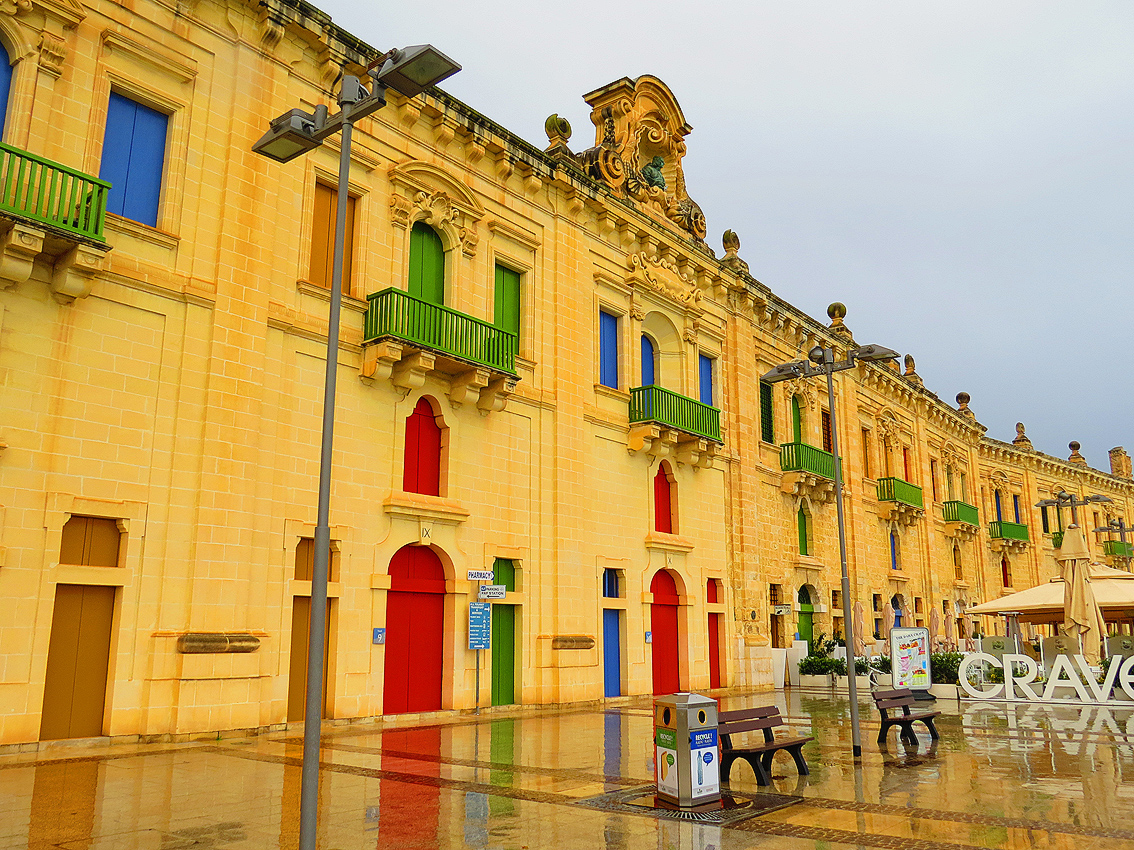 Colourful Valletta Waterfront On Rainy Day