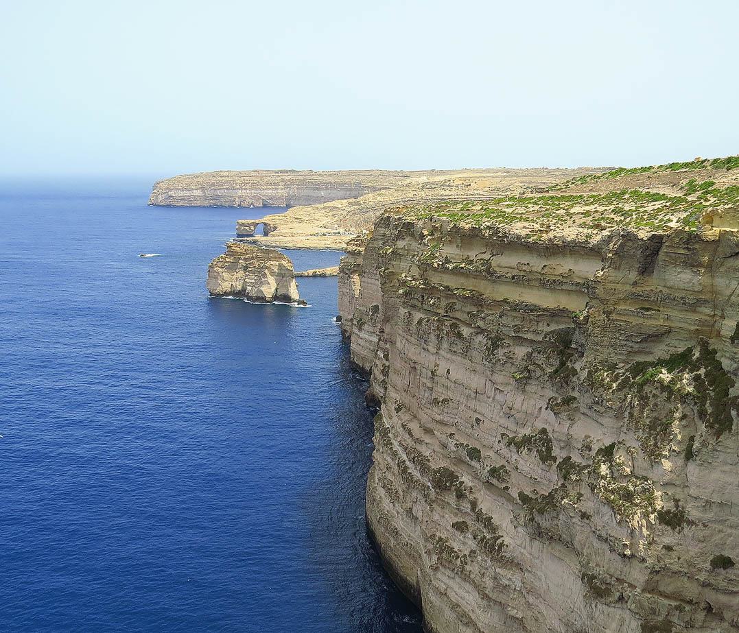The majestic line of cliffs south of Dwejra