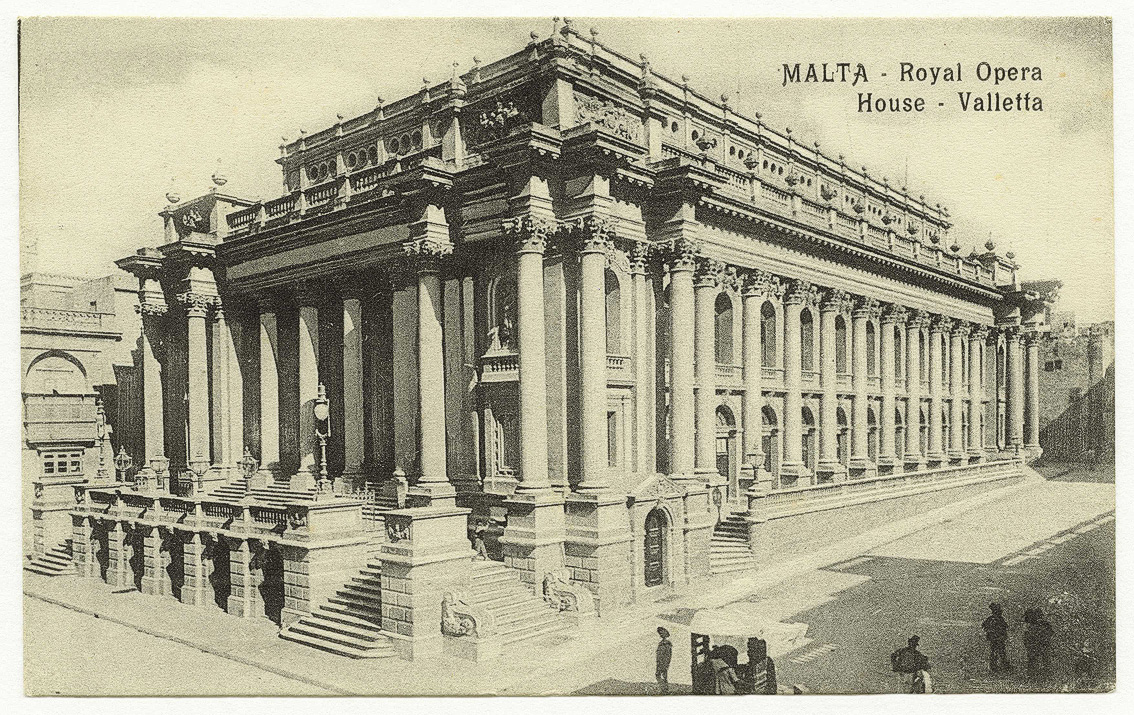Vintage postcard of the Royal Opera House in Valletta