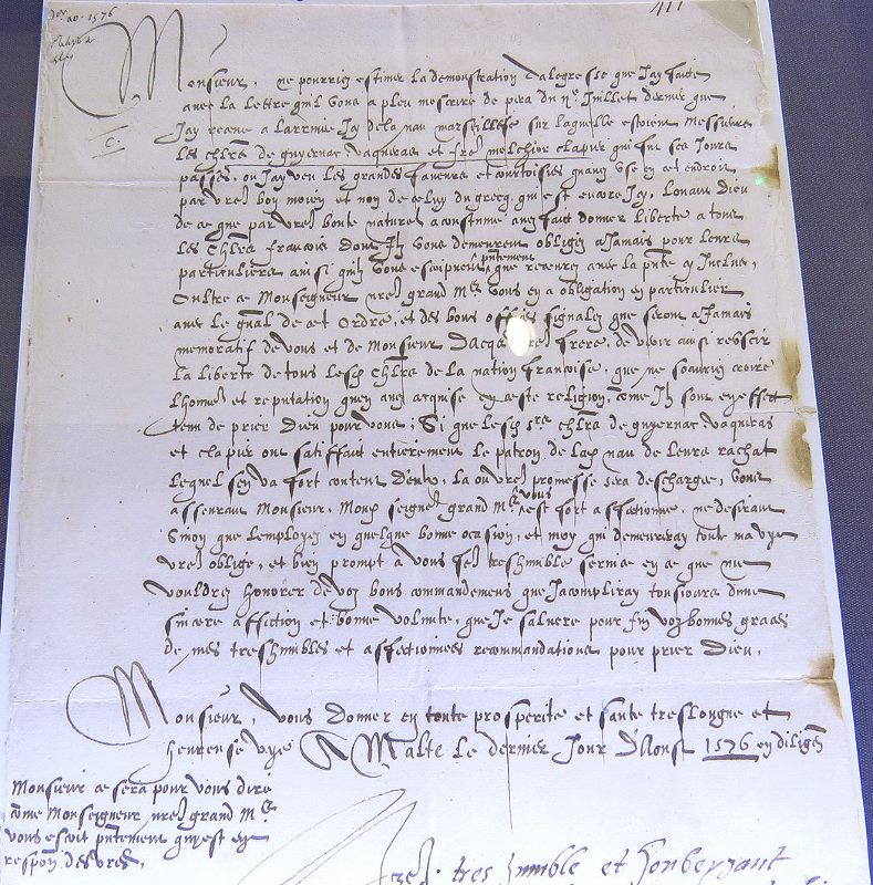letter sent from Malta in 1576