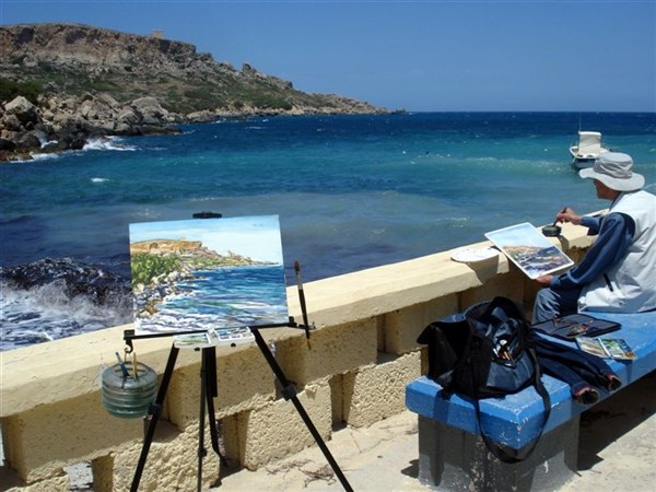 Painting by the sea & the sun