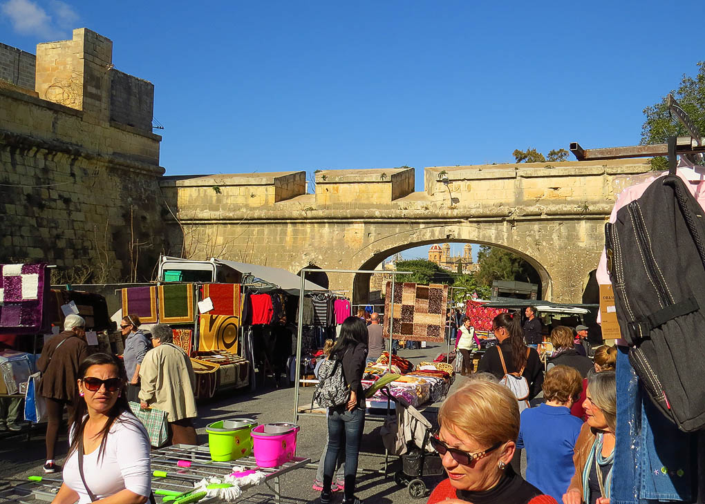 A market with a historic backdrop
