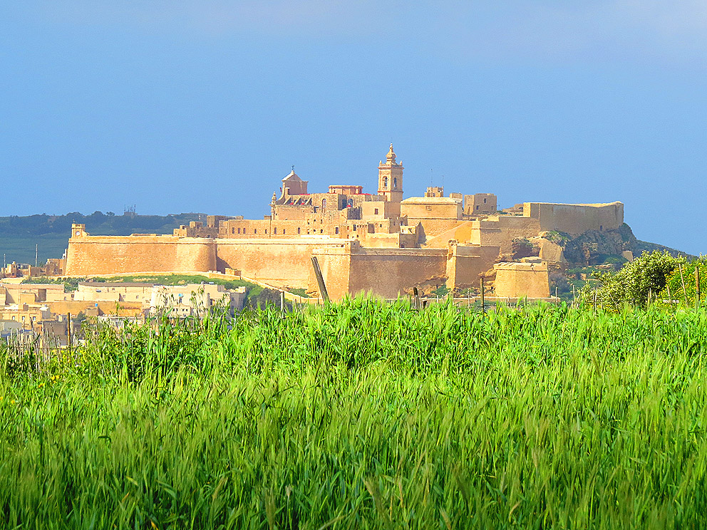 View of the Citadela from Xaghra, Gozo